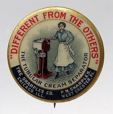 1896 SHARPLES CREAM SEPARATOR Woman Stands Hand on Machine Dairy pinback button*