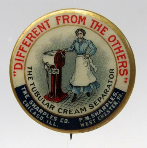 1896 SHARPLES CREAM SEPARATOR Woman Stands Hand on Machine Dairy pinback button*