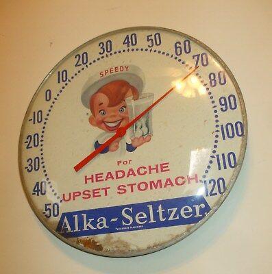 "Round 12"" Metal Speedy Alka-Seltzer Thermometer w/Glass Cover  (dw356)"