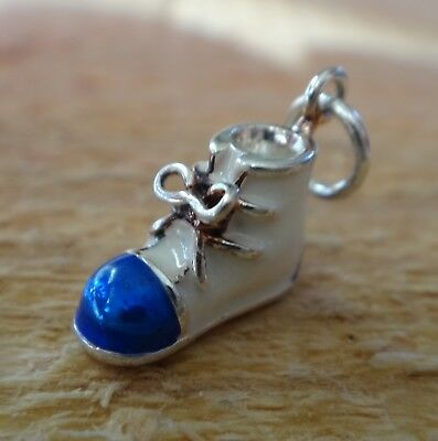 Sterling Silver Small 13x10mm Baby Boy Shoe Blue & White Enamel Charm Baby Boy Shoe Charm