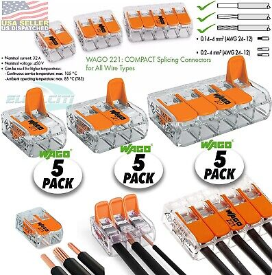 15pcs Wago Lever-nuts 235 Conductor Terminal Block Splicing Wire Connector
