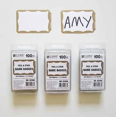 300 Gold Border Badges Name Tags Labels Id Stickers Peel And Stick Adhesive