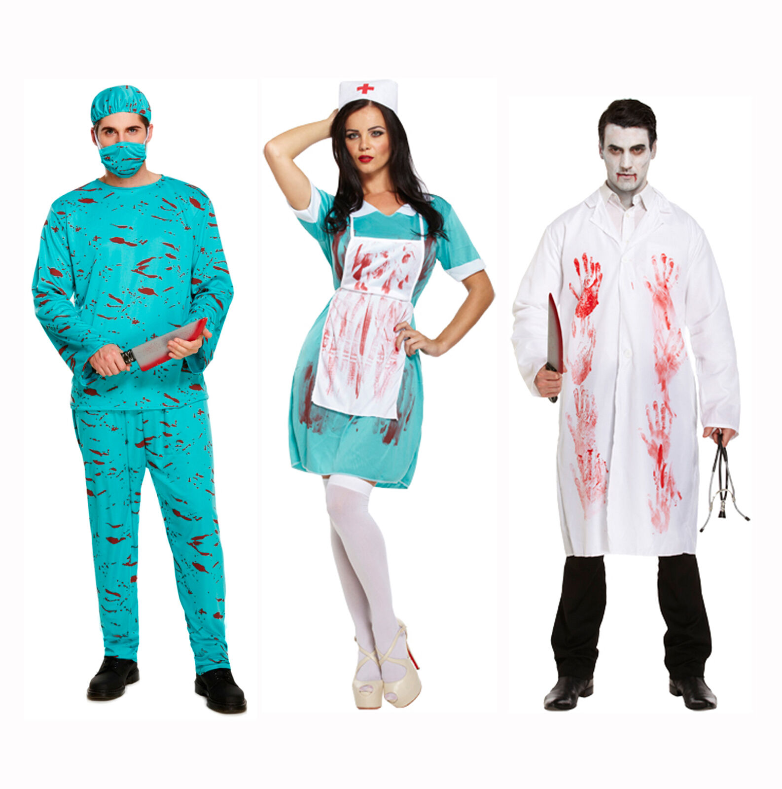 Bloody Zombie Couples Horror Fancy Dress Halloween Costume Doctor ...