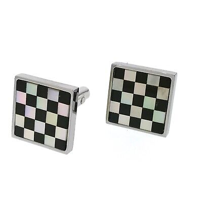 - men's stainless steel cufflinks with mother of pearl onyx design handmade