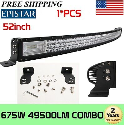 7D TRI-ROW 52INCH 675W CURVED LED LIGHT BAR COMBO OFFROAD 4WD TRUCK ATV UTE SLIM