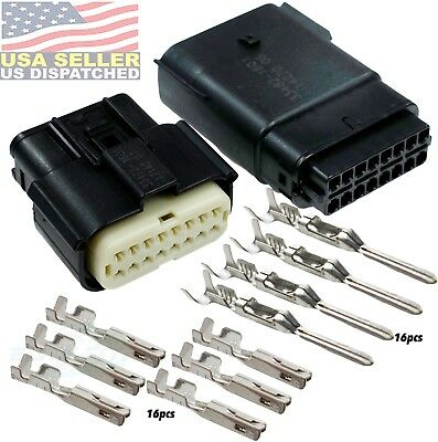 Molex 16 Pin Wire Connector, Harley BLACK Waterproof, Sealed Kit, MX150™
