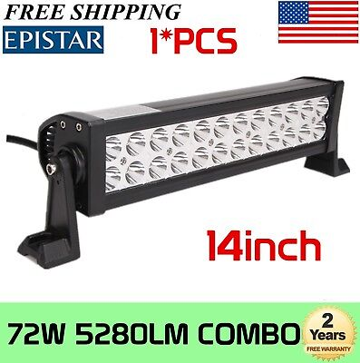 14 Inch 72w Light Bar 24 CREE LED Work Flood Spot SUV Truck SUV 4WD Offroad Lamp