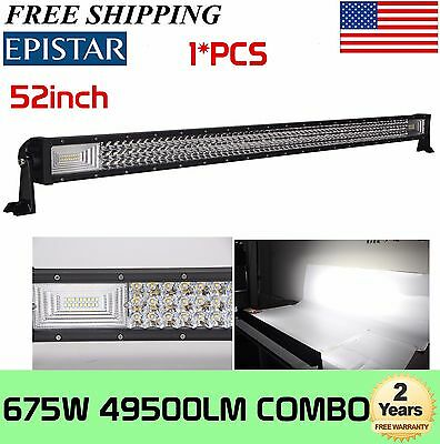 как выглядит Tri-Row 52inch 675W 7D LED Light Bar Combo Driving Offroad Bumper Roof 300W фото