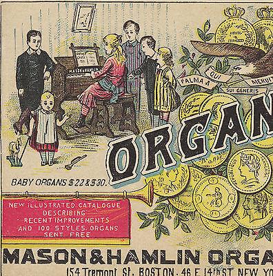Baby Organ Mason & Hamlin Piano Eagle Exposition Medals Advertising Trade Card