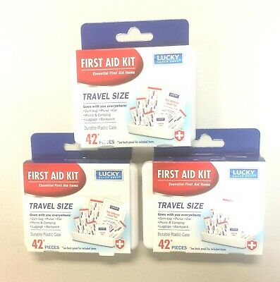 - 3X Pack of 42 Essential First Aid Kit Emergency Bag Home Car Office Travel Kit