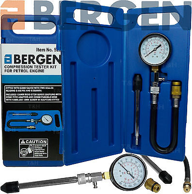 BERGEN Compression Tester Kit Petrol Engine Cylinder Compression Tester Tool Set