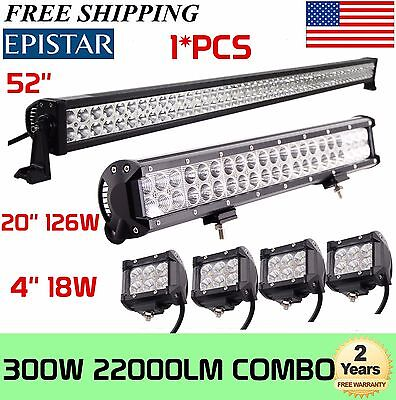 52Inch LED Light Bar Combo + 20in +4