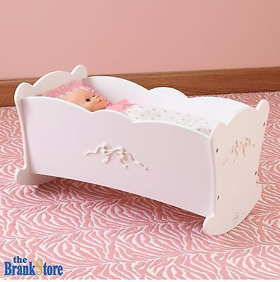 "Baby Doll Cradle American Girl Dolls 18 "" Furniture White Wood Crib Rocking Bed"