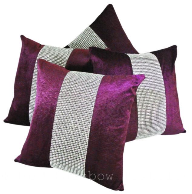 """Set of 4 Purple & Silver Diamanté Sparkle Velvet Chenille 17"""" Cushion Covers"""
