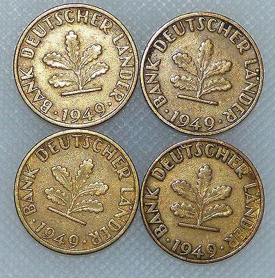 5 Pfennig 1949 D F G J Bank Deutscher Länder Kompletter Satz