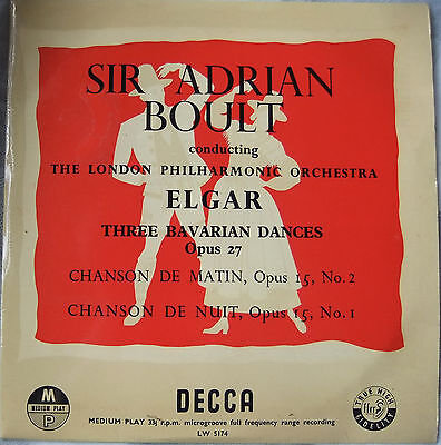 "Three Bavarian Dances - Elgar; Boult / LPO; Vinyl 10"" LP (Decca LW 5174)"
