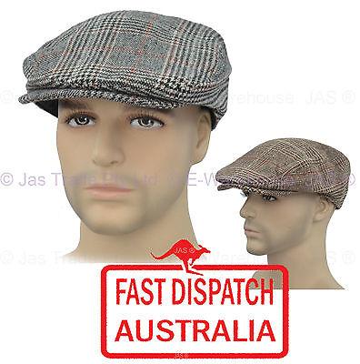 Men Pageboy Newsboy Driving Flat Ivy Check Plaid Tweed Houndstooth Cap Sun Hat