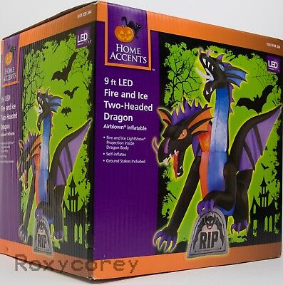Halloween Gemmy 9 ft Animated Projection Fire & Ice 2 Headed Dragon Inflatable - Halloween Dragon