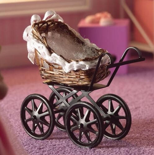 1:12 Scale Empty Wicker Victorian Pram Tumdee Dolls House Miniature Nursery Toy