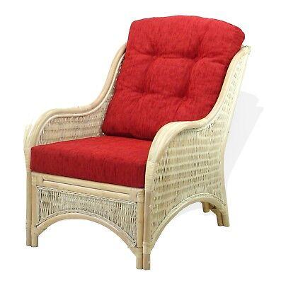 Lounge  Armchair Jam Handmade Natural Rattan Wicker w/ Burgundy Cushions, Cream ()