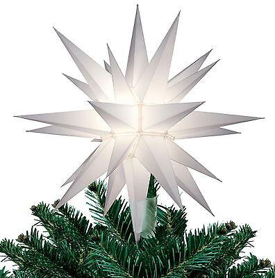 """New 12"""" White Lighted Star Lit Christmas Tree Topper 26 Point Star of Bethlehem"""