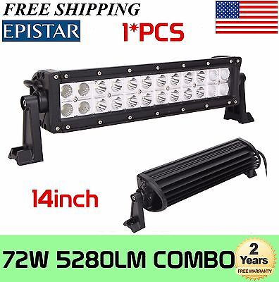 14inch 72W Led Work Light Bar Combo Boat Jeep Driving Lamp Off-road 4WD Epistar