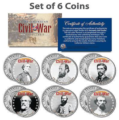 American CIVIL WAR South CONFEDERATE LEADERS Kennedy JFK Half Dollars 6-Coin Set