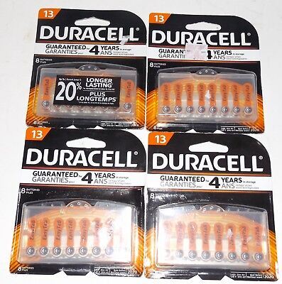 4 New! 8-Pack DURACELL #13 Hearing Aid Batteries Long Easy Tab 1.4 volt Zinc Air 4 Duracell Easy Tab