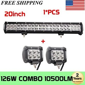 Cree led light bar ebay 20 126w cree led work light bar offroad boat lamp spot flood combo free mozeypictures Choice Image