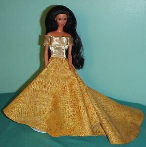 Dark-Golden-Yellow-Gown-with-Bright-Gold-Satin-Bodice-for-Barbie-Doll-BG40