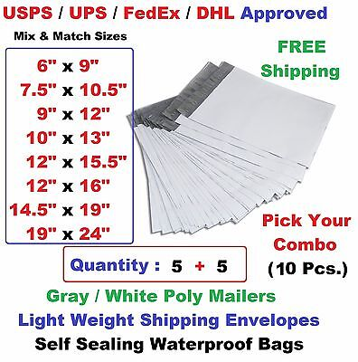Pick Your Combo 10 55 Poly Mailers Shipping Envelopes Plastic Mailing Bags