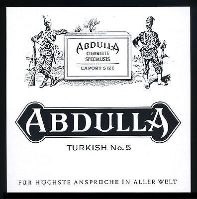 Werbung Reklame 1958 ABDULLA Cigarette Specialists Turkish No. 5 Zigaretten