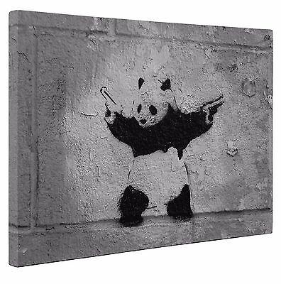 "Banksy Canvas Panda Black Grey Print Wall Art A1 x Large 20"" X 30"" Inches"