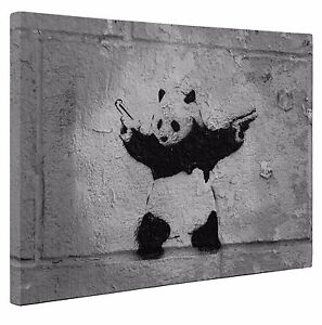 Banksy Panda Black Grey Canvas Print Wall Art A1 Large 20