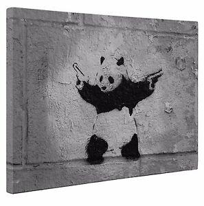 Banksy Shooting Guns Panda Canvas Wall Art Print Picture 20x30 inches UK New
