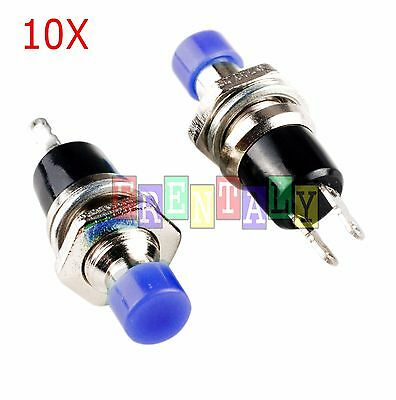 Blue 10Pcs Mini Momentary On/Off Lockless Micro Push Button SPST Switch