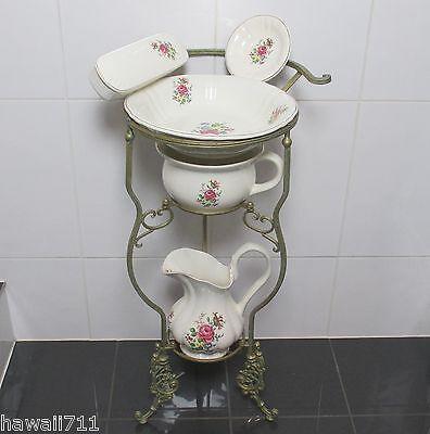 Waschset + Ständer Antik Lavabo Waschschüssel Krug Seifenschale Nachttopf Rosen