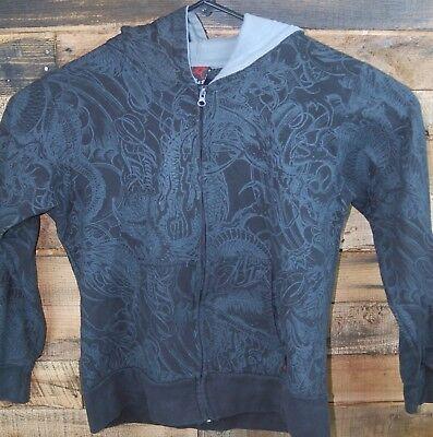 Miami Ink Medium Black Zip Front Hoodie Hooded Sweatshirt Dragons, Talon #KC478
