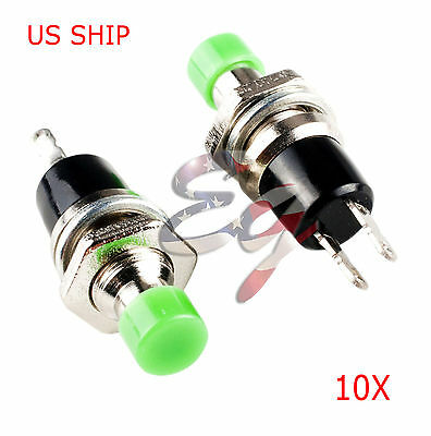 Green 10pcs 7mm Mini Momentary Onoff Lockless Micro Push Button Spst Switch