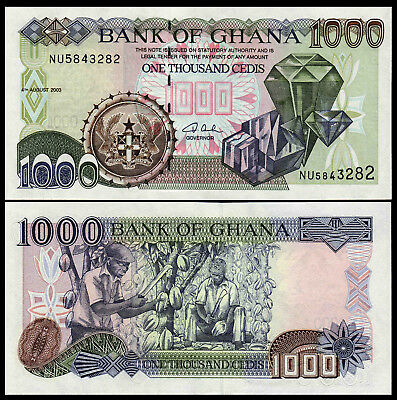 GHANA 1000 1,000 CEDIS AUGUST 2003 P 32 UNC AFRICAN MONEY