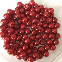 6mm Vetro Perle Finte - Rosso Rubino - 100 Perle, Creazione Gioielli -  - ebay.it