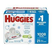 Huggies Refreshing Clean Baby Wipes, Disposable Soft Pack (1,008 ct.