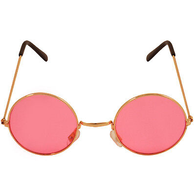 STEAMPUNK 50'S ROCK BAND GLASSES RETRO ROUND PINK LENSE HIPPY FANCY DRESS PARTY