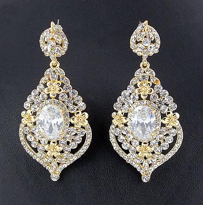 Daisy Austrian Rhinestone Crystal CZ Chandelier Dangle Earrings Wed E3511g Gold