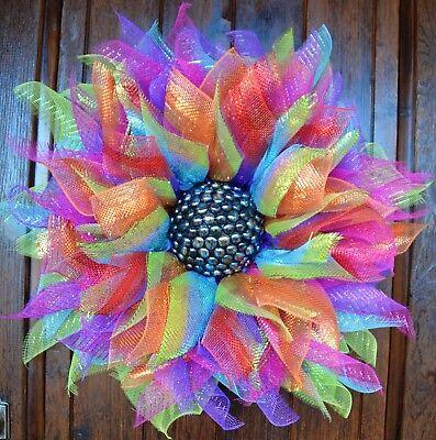 Deco Mesh Large Flower Door Wreath Wall Hanging Spring Summer Floral Decor