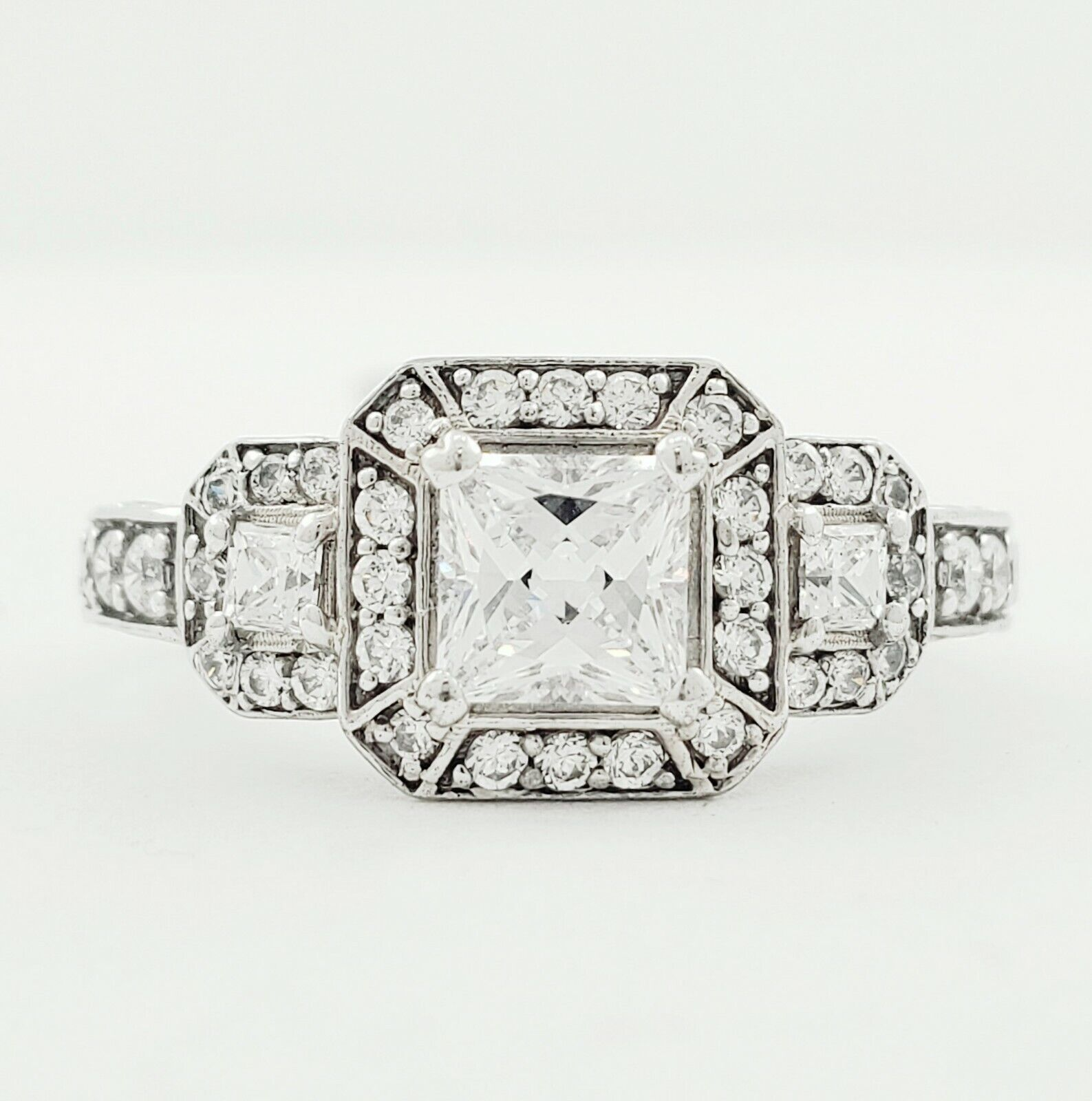 GIA Certified Diamond Engagement Ring 3.29 CT Cushion, Round & Princess Cut Plat