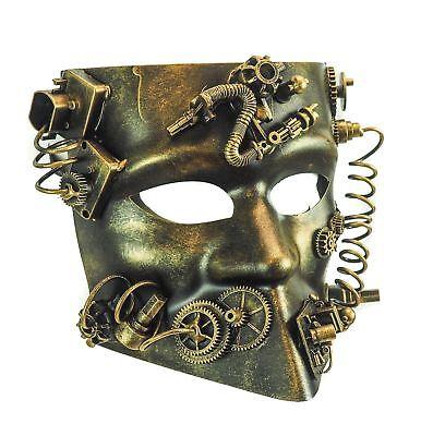 Steampunk Gear Antique Gold Mask Masquerade Halloween Costume Eye Gears Goggles - Antique Halloween Masks