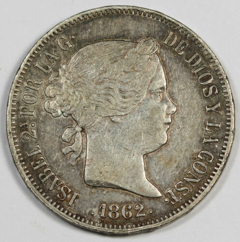 Spain 1862 20 Reales Silver Coin XF ISABEL 2 KM# 609.2 Scarce Crown Size