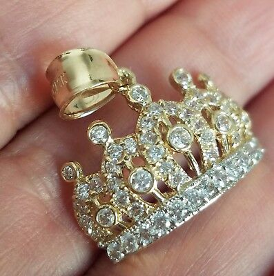 Diamond Crown Charm - 14K Yellow Gold man made diamond Crown pendant charm