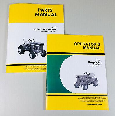 Parts Operators Manual Set For John Deere 140 Hydrostatic Tractor Sn 22401-up
